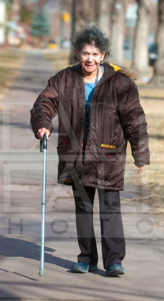 Senior lady with cane