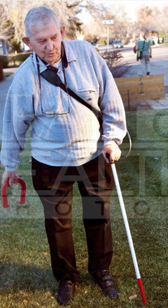 Senior man with cane 2