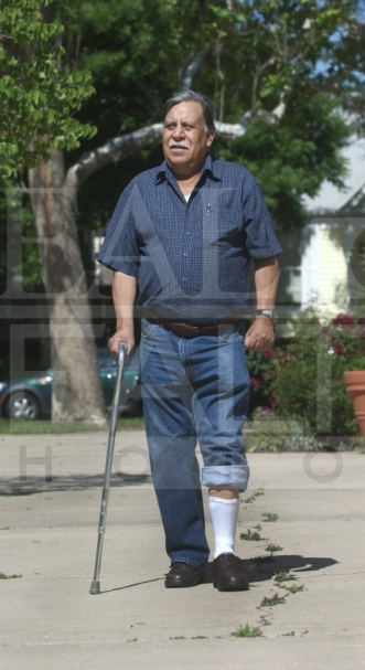 Senior man with cane